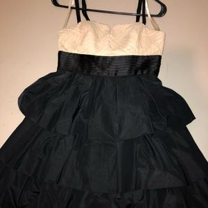 Black and cream ruffled formal dress
